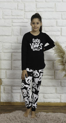 Picture of ENKI GIRLS COTTON BLACK PAJAMA SET