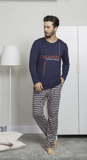 صورة ENKI MEN COTTON DRESS BLUES PAJAMA SET