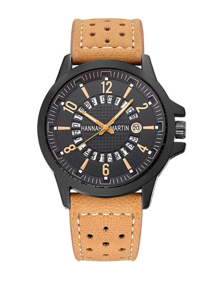 Picture of Hannah Martin Men's Quartz Watch Calendar  Frosted PU Leather Functional Chic Watch Accessory - Size: One Size