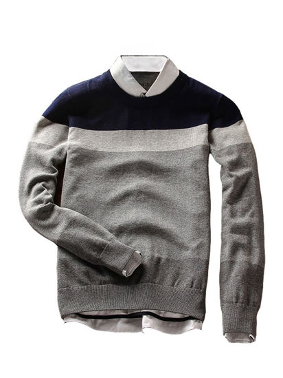 Picture of Men's Sweater O Neck One Piece Casual Strip Weaving Sweater - Size: XXL