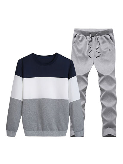 Picture of JISNEY Men's Active Tracksuit Plus Size Color Block Long Sleeve Sweatshirt Set - Size: 3XL