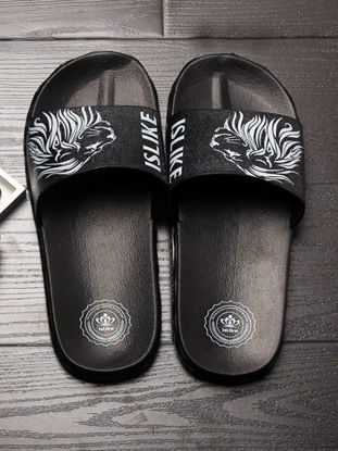 Picture of Men's Slippers Groovy Personalized Cool Lion Head Pattern Open Toe Slippers - Size: 44