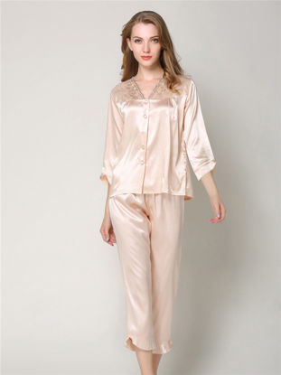 Picture of Women's Pajama Set Solid Color V Neck Three Quarter Sleeve Button Elegant Home Suit - Size: XL