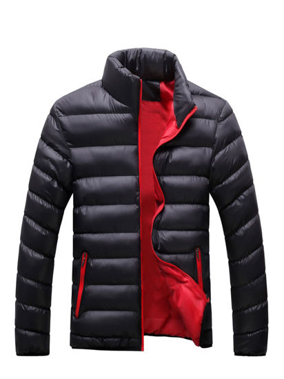 Picture of Men's Quilted Coat Solid Color Stand Collar Zipper Coat - Size: XXL