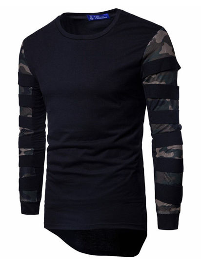 Picture of Men's T-Shirt Camouflage Mesh Stitching Fashion Large Size Slim O Neck Elastic Long Sleeved Top - Size: XL