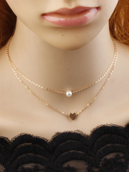 Picture of Women's Necklace Simple Design Heart Shape Double Layer Trendy Accessory - Size: One Size
