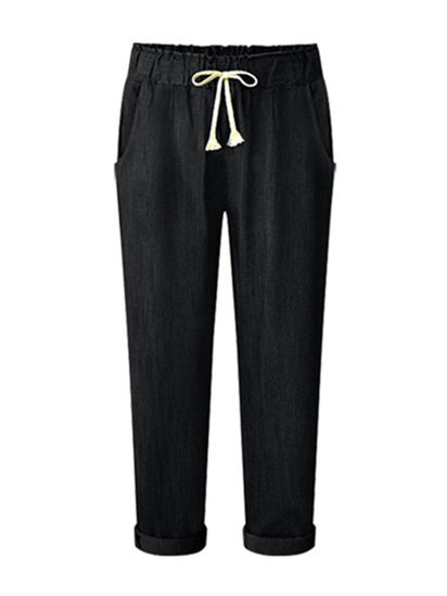 Picture of Women's Jeans Straight Solid Color High Waisted Plus Size Denim Pants - Size: 5XL