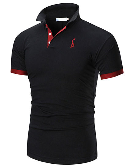 Picture of Men's Sports T-Shirt Turn Down Collar Embroidery Pattern Thin Top - Size: XXL