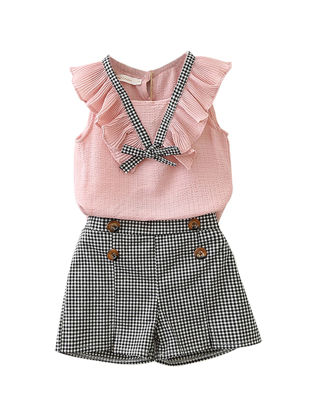 Picture of Toddler Girls Girl's 2 Pcs Checkered Shorts Sleeveless Ruffles Decor Sweet Set - Size: Height:125cm