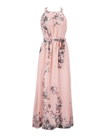 Picture of Women's Aline Dress Plus Size Floral Pattern Sleeveless Maxi Long Dress With Sash - Size: XL