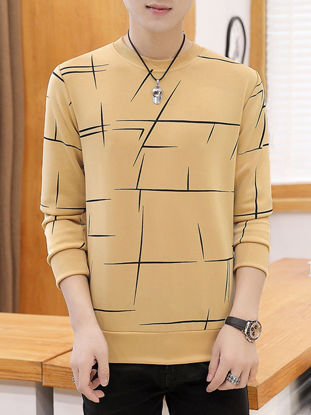 Picture of Men's Geometric Printed O Neck Sweatshirt All Match Casual Long Sleeve Pullover - Size: 3XL