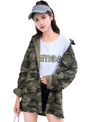 Picture of Women's Coat Casual Button Camouflage Pocket Coat - Size: Free