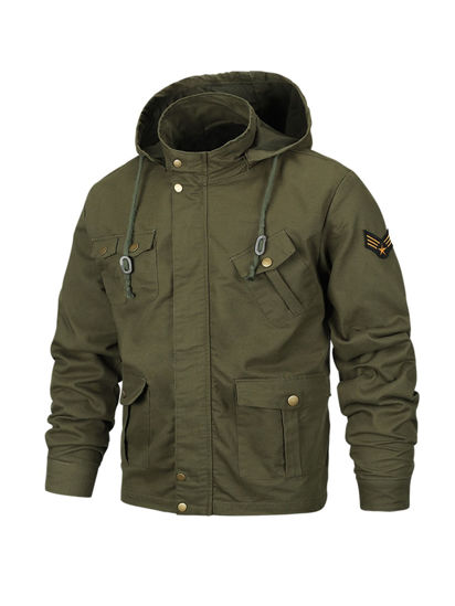 Picture of Men's Casual Jacket Hooded Fashion Long Sleeve Plus Size Jacket - Size: XL