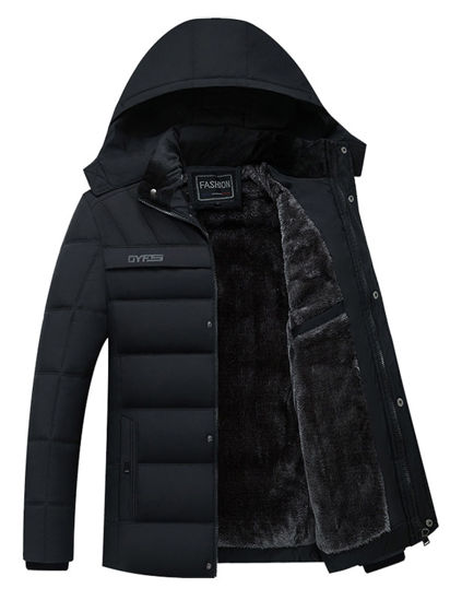 Picture of Men's Down Coat Hooded Long Sleeve Solid Color Zipper Decor Warm Down Coat - Size: 3XL