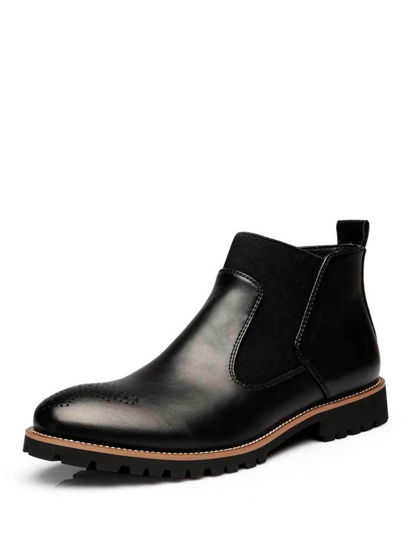 Picture of Men's Chelsea Boots Square Heel Patchwork Anti Skidding Trendy Shoes - Size: 42