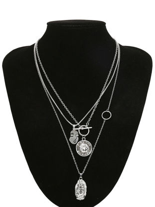 Picture of Women's Multi-Layer Necklace Trendy Retro Exaggerated Alloy Pendant Necklace Fashion Accessory - Size: One Size