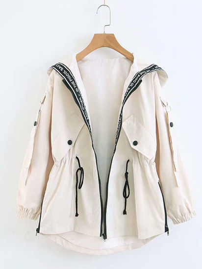 Picture of Women's Trench Coat Zipper Hooded Drawstring Outerwear - Size: XXL