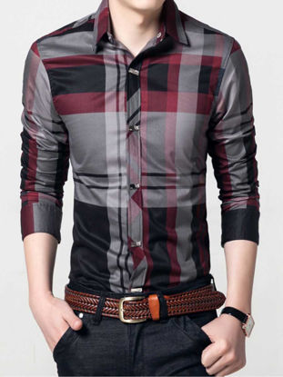 Picture of Men's Shirt Long Sleeve Turn Down Collar Plaid Top - Size: 4XL