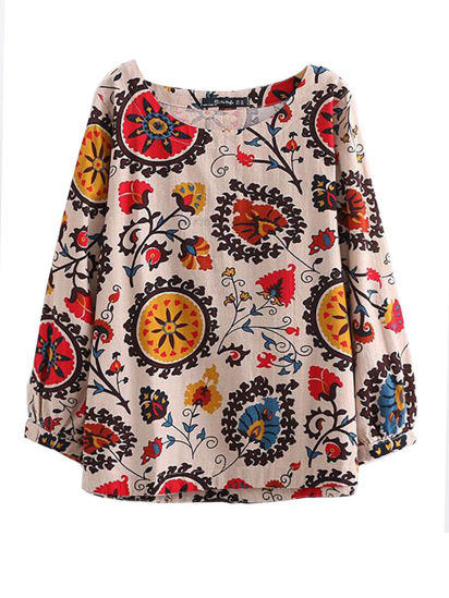 Picture of Women's Blouse Plus Size Stylish Casual Loose Floral Top - Size: 5XL
