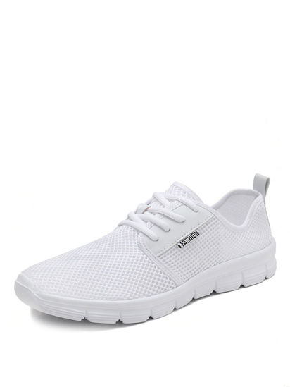 Picture of Men's Running Shoes Solid Color Low Top Lace Up Breathable Sports Shoes - Size: 43