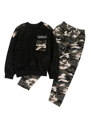 Picture of Toddler Boys Boys' 2 Pcs Pants Suit Camouflage Pattern Long Sleeve O Neck Chic Set - Size: Height:140cm