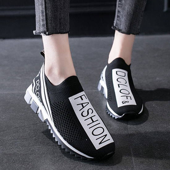 Picture of Women's Sports Shoes Lightweight Breathable Lettered Slip On Shoes - Size: 38