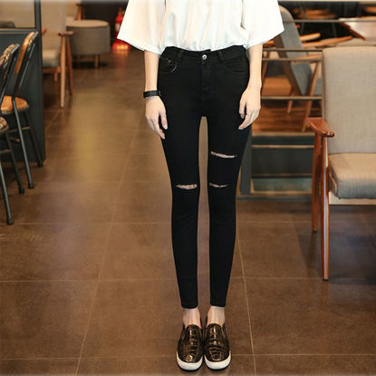 Picture of Jeans Women's Cropped Pants Feet Pants Holes High Waist Students Skinny Pencil Pants Women - Size: 31