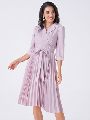 Picture of Women's A Line Dress Slim Three Quarters Sleeve Notched Collar Dress - Size: XL