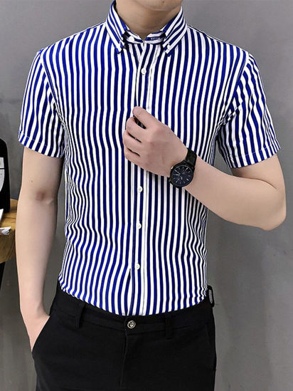Picture of Men's Shirt Casual Short Sleeve Striped Loose Top - Size: 4XL