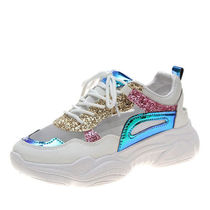 Picture of Women's Fashion Sneaker Flat Anti-Skidding Thick Sole Lacing Round Toe Casual Shoes - Size: 38