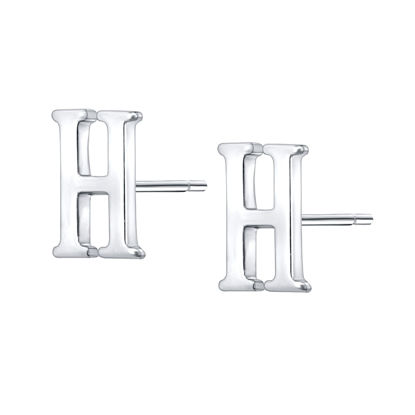 Picture of Women's Earrings 925 Sterling Silver Initial Letter H Stud Earring Chic Accessory - Size: One Size