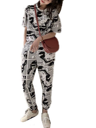 Picture of Women's 2Pcs Trousers Set O Neck T Shirt Print Casual Pants Suit - Size: M