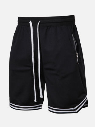Picture of Men's Active Shorts Contrast Elastic Waist Breathable Short Pants - Size: L