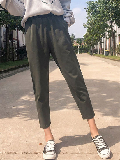Picture of Women's Straight Pants High Waist Solid Pocket Trousers - Size: S
