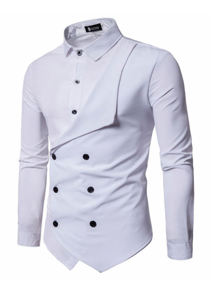 Picture of Men's Shirt Long Sleeve Solid Color Button Decor Fashion Top - Size: XXL