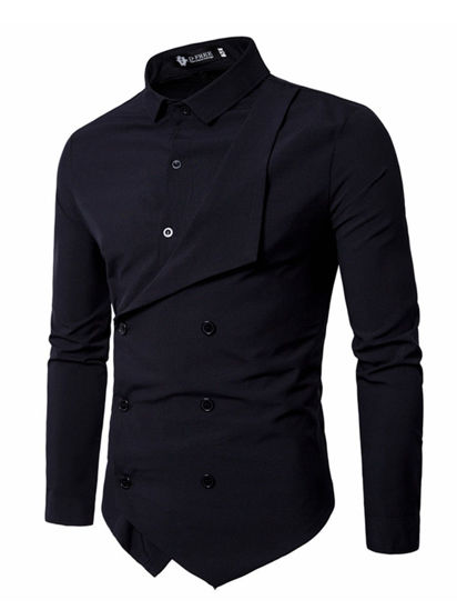 Picture of Men's Shirt Long Sleeve Solid Color Button Decor Fashion Top - Size: 4XL