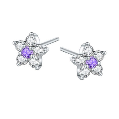 Picture of Women's Ear Studs Elegant Flower Cubic Zircon 925 Sterling Silver Earrings - Size: One Size