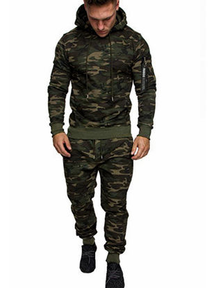 Picture of Men's 2Pcs Sports Clothing Set Long Sleeve Camouflage Hoodie Pants Suit - Size: XL/3XL