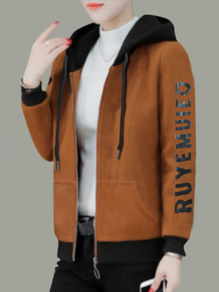 Picture of Women's Bomber Jacket Zipper Hooded Print Coat - Size: 3XL