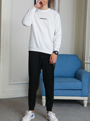 Picture of Men's 2Pcs O Neck Long Sleeve Sweatshirt Solid Color Harem Pants - Size: 3XL
