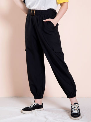 Picture of Women's Plus Size Pants High Waist Solid Color Pocket Pants - Size: 5XL