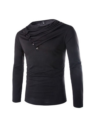 Picture of Men's T Shirt Long Sleeve Solid Color Slim Top - Size: M