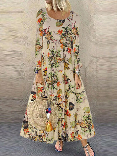 Picture of Women's Aline Dress Floral Print O Neck Long Sleeve Dress - Size: 3XL
