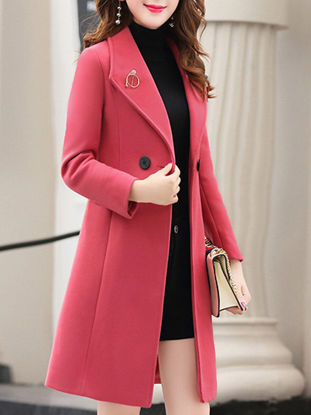 Picture of Women's Trench Coat Slim Long Sleeve Buttons Outerwear - Size: XL