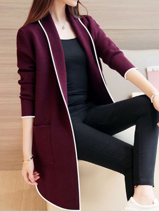 Picture of Women's Quilted Coat Loose Long Sleeve Solid Color Casual Coat - Size: XXL
