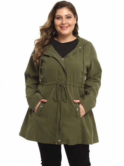 Picture of Women's Plus Size Trench Coat Drawstring Pocket Long Sleeve Outerwear - Size: 6XL