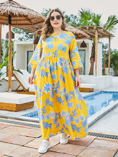 Picture of Women's Plus Size Dress Casual Three Quarters Sleeve O Neck Dress - Size: 4XL