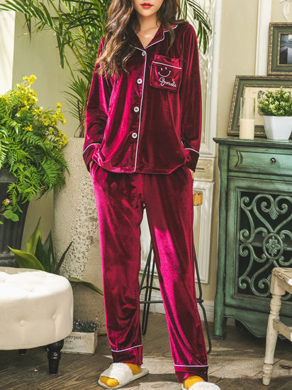 Picture of Women's Pajamas Set Plus Size Notched Collar Long Sleeve Pants Comfy Home Set - Size: M