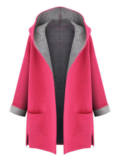 Picture of Women's Plus Size Trench Coat Hooded Pocket Open Front Long Sleeve Loose Fashion Coat - Size: 5XL