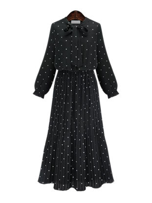 Picture of Women's Aline Dress Fashion Polka Dot Long Sleeve Dress - Size: 3XL